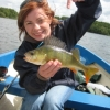Joanna with colourful perch on Ennell
